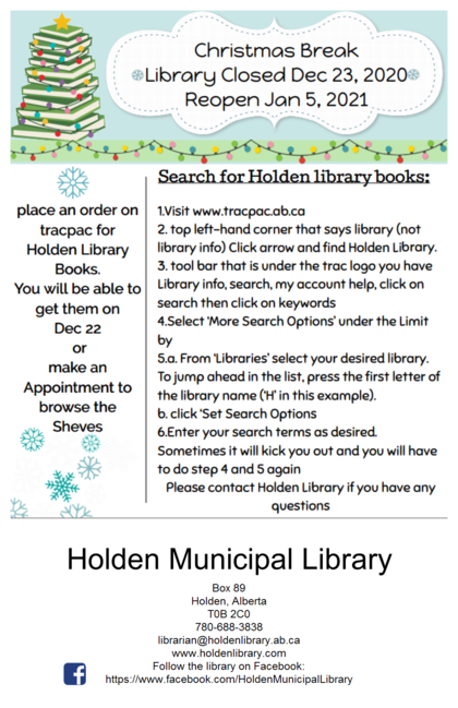 order books on trac Holden Library Books only
